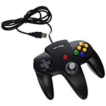 RetroLink N64 Style USB Controller for PC and Mac-Black, PC/Mac/Linux