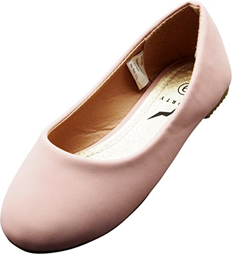 NORTY - Little Girls Nubuck Ballet Flat, Pink 40085-12MUSLittleKid
