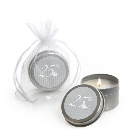 25th Anniversary - Candle Tin Wedding Anniversary Party Favors - Set of 12