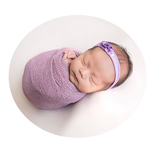 Newborn Baby Photo Props Wrap Cloth Blanket Swaddle for Boys Girls Photography Shoot (Purple)