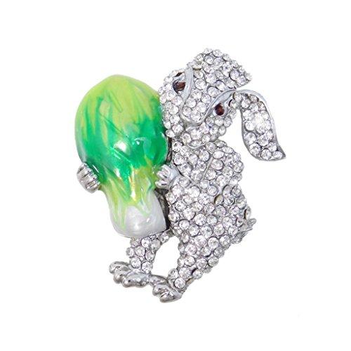 EVER FAITH Silver-Tone Easter Bunny Hugging Cabbage Brooch Enamel Clear Austrian Crystal N02822-1