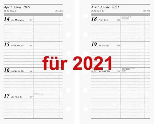 Rido Kalendarium 2021 1Wo=2S. Multilochung 7,6x12,7 Kalender 2021 Einlage