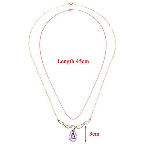 Diamant Jaune 074 Collier 9 Femme Cts Améthyste Or Carats Naava tYwT7qt