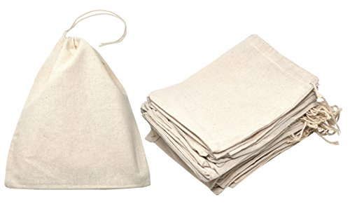 Mandala Crafts Bulk Unbleached Fabric Cloth Cotton Muslin Sachet Bags with Drawstring for Soap Spice Tea Favor Gift (7.5 X 9.5 inches, 15 Count, Ivory) by Mandala Crafts