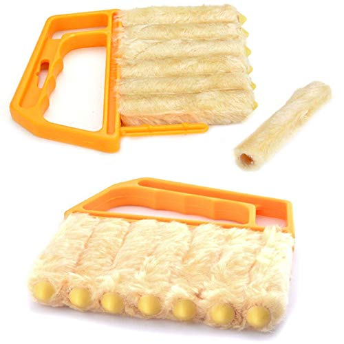 winnes 2 Pack Shutters Window Blind Brush Dust Cleaner Orange with 7 Slat Handheld Household Tool Removable Brush Head