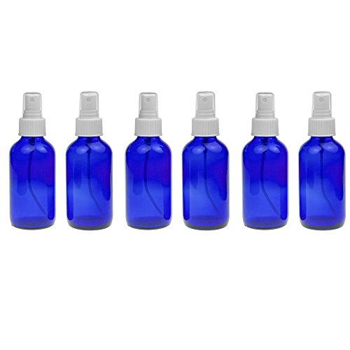 6 Empty Blue Glass Spray Misters - 4oz Refillable Bottle for Essential Oils, Organic Beauty Products, Cleaners and Aromatherapy with a White Mist Dispenser -6 Pack (Small Lab Oven compare prices)