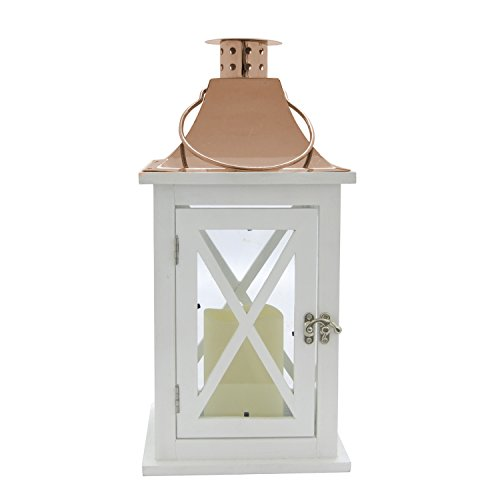 3Hands White Wood Copper Candle Lantern Flameless Candle 13 inches High x 6.5 inches Wide