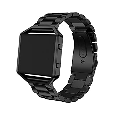 SWAWS Fitbit Blaze Band with Frame, Stainless steel Bracelet Replacement Strap Watch Band for Fitbit Blaze Smart Fitness Watch