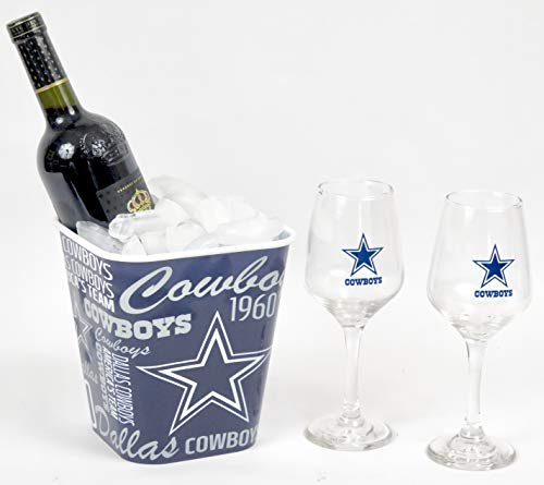 Dallas Cowboys Wine Glasses with a combination ice bucket snack block. -