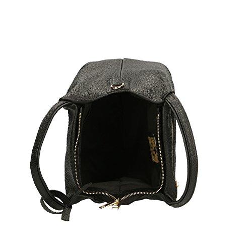 Chicca Borse Bolso de hombro de Piel genuina 30x 19x 15 Cm negro