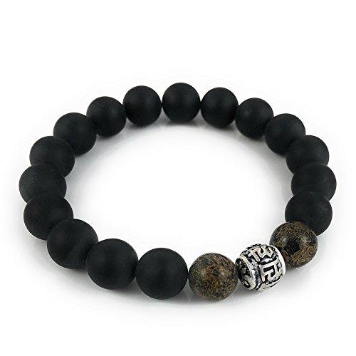Men's Bead Bracelet, 10mm Jasper and Onyx Gemstones, Tibetan Mantra Bead, Mala Inspired ()