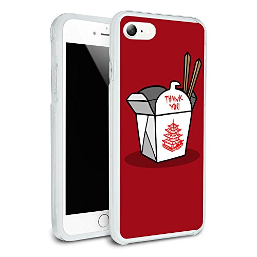 Phones Chinese - Chinese Food Takeout Box with Chopsticks Protective Slim Fit Hybrid Rubber Bumper Case for Apple iPhone 7