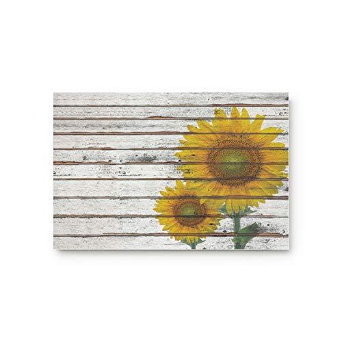 URDER Welcome Doormats Rubber Non-Slip Floor Mat Rugs for Entrance Way/Indoor/Front Door/Bathroom/Kitchen, Shoe Scraper Carpet 30 x 18 Inch Sunflower on The Wooden Board