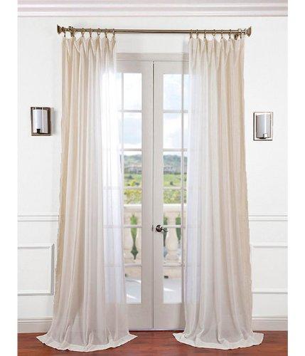 Half Price Drapes SHFLNCH-M012-108 Faux Linen Sheer Curtain, Gardenia