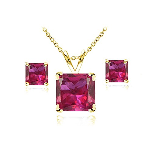 GemStar USA Yellow Gold Flashed Sterling Silver Created Ruby Square Solitaire Necklace and Stud Earrings Set
