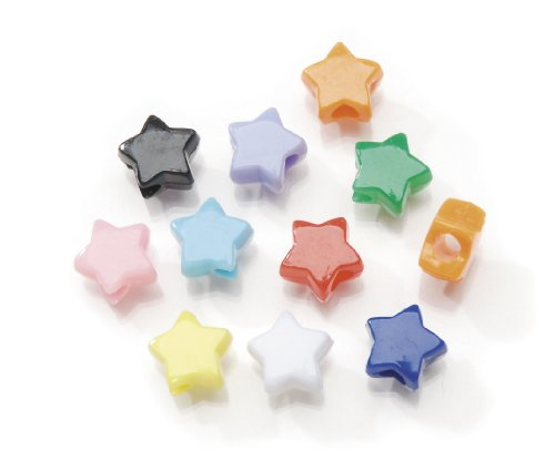 Darice Assorted Star Pony Beads - Great Craft Projects for All Ages - Bead Jewelry, Ornaments, Key Chains, Hair Beading - Star Plastic Bead with Center Hole, 7x12mm Diameter, 1 lb. Bag]()