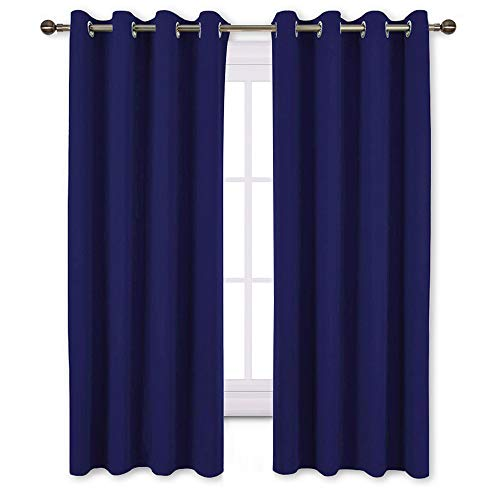 NICETOWN Blackout Window Curtains and Drapes - Thermal Insulated Solid Grommet Top Blackout Panels/Draperies for Kid's Room (Dark Navy, 1 Pair, 52 x 63 Inch) (Drapes Blue Silver)
