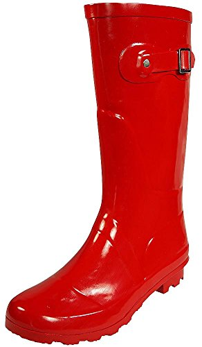 Gloss Red Shoe Womens (NORTY - Womens Hurricane Wellie Solid Gloss Mid-Calf Rain Boot, Red 38736-11B(M) US)
