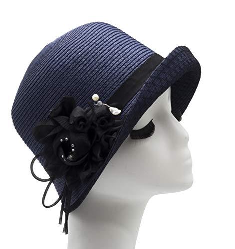 Melniko City Women Cloche Straw Hat Derby Gatsby 20s (Navy Blue) -