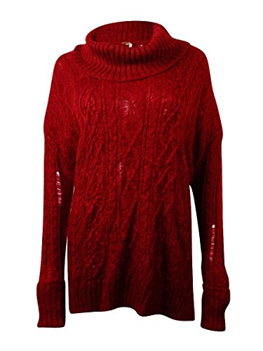 Free People Womens Distressed Cable Knit Cowl Pullover Sweater Red Small