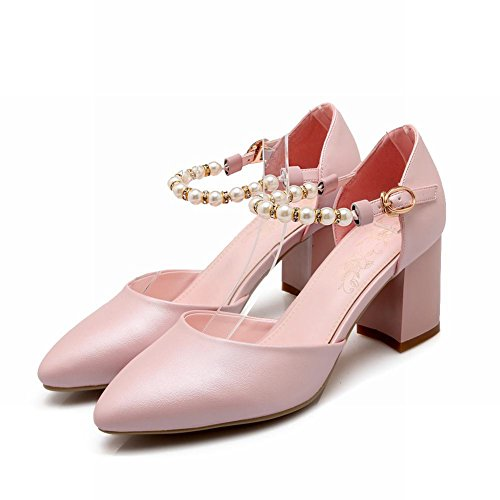 Carolbar Chic Womens Sweet Beaded Elegance Buckle Pointed Toe Chunky High Heel Mary Janes Shoes Sandals Pink wB3jLScur
