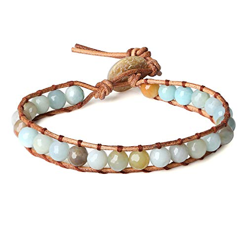 Amazonite Bracelet - COAI Genuine Stones Amazonite Beaded Leather Bracelet for Yoga Meditation