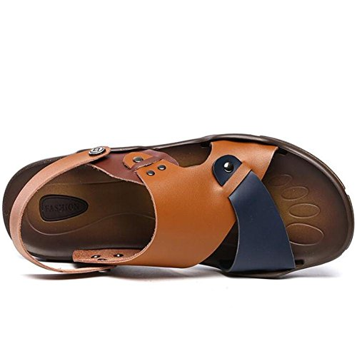 uomo 38 Estate on Nero da YELLOW Open Taglia EU39 a 43 vera Pull Scarpe XIE Sandali EU41 pelle antiscivolo in Beach da Slipper Rivet Traspirante Toe OnHEBw