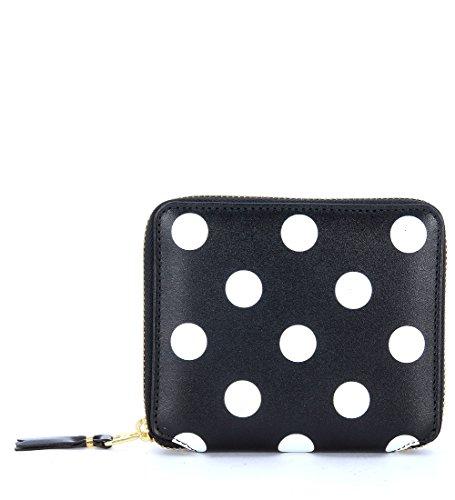 Comme Des Garçons Wallet Men's Comme Des Garçons Wallet In Black Leather And Polka Dots Black