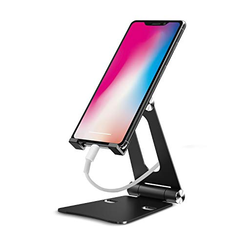 iKsee Cell Phone Stand, Adjustable Phone Stand, Dual Foldable Cell Phone Holder, Cradle, Dock for 4-10'' Android Smartphone iPhone X 8 7 6 6s Plus 5 5s 5c iPad Mini, Desk Accessories-Black by iKsee