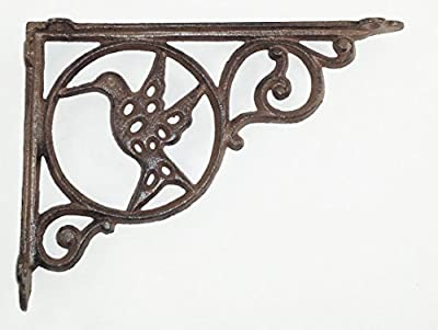 Aunt Chris' Products - Hummingbird Shelf Bracket - Heavy Cast Iron - Holes In Bird For Light To Shine Thru - All-Purpose - Scroll Work Design - Rustic Dark Brown Color - Can Be Used Indoor Or Outdoor