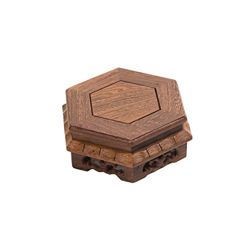 LuoLuo Hexagon-2-Jichi Carved (S 12cm12cm5.5cm) Rosewood Display Stand Hexagon Shape Carved Solid Chicking Wing Wood JiChi Wooden Base For Home Arts Antique Stone Display Decoration