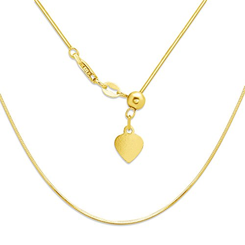 Sterling Silver 18k gold plated over sterling Italian Adjustable Square 8-sided Diamond-Cut Snake Bolo Chain (from 12