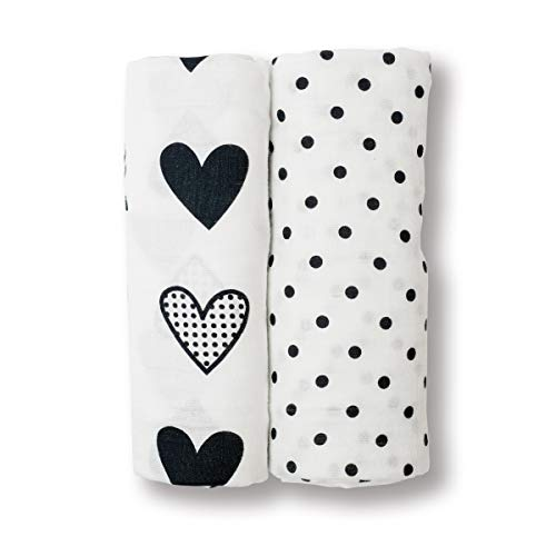 (lulujo Baby 2 Piece Cotton Muslin Swaddling Blankets, Black/White Dots & Hearts)