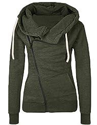 Shinekoo Women Inclined Zipper Lapel Jacket Sweatshirts Autumn Outerwear