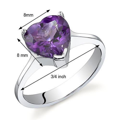 Cupids Heart 1.75 carats Amethyst Ring in Sterling Silver Rhodium Nickel Finish Sizes 5 to 9