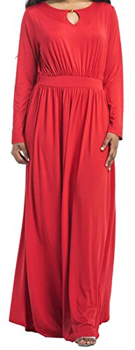 Dress Autumn Red Solid Key Long Hole Jaycargogo Womens Maxi Casual 1Aq8q