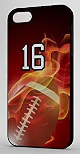 Flaming Football Sports Fan Player Number 1 Black Plastic Decorative iphone 4s Case