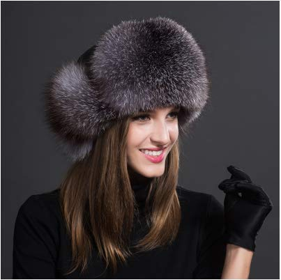 MH Bailment Womens Winter Hat Genuine Fox Fur Russian Hats Lei Feng hat (One Size, Silver Blue) by MH Bailment (Image #2)