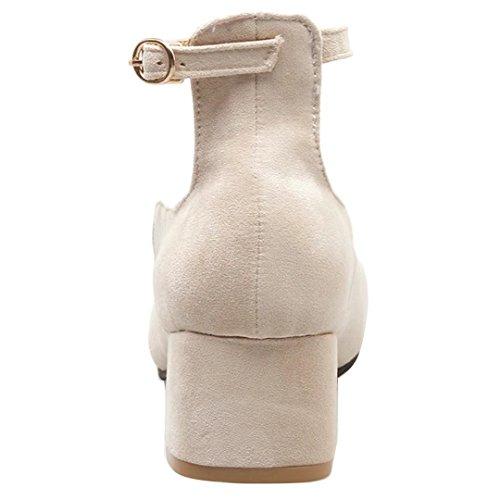 AIYOUMEI Damen Chunky Heels Pumps mit Knöchelriemchen und 5cm Absatz Blockabsatz High Heels Schuhe Aprikose