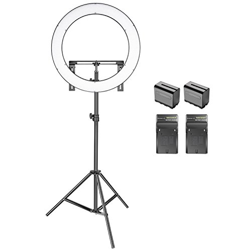 Neewer Photo Studio LED Ring Light Lighting Kit -(1)19 inches Dimmable Bi-color SMD LED Ring Light with Bracket,(2)Li-ion Battery,(2)Battery Chargers,(1)2-Meter Light Stand for Portrait Video Shooting by Neewer