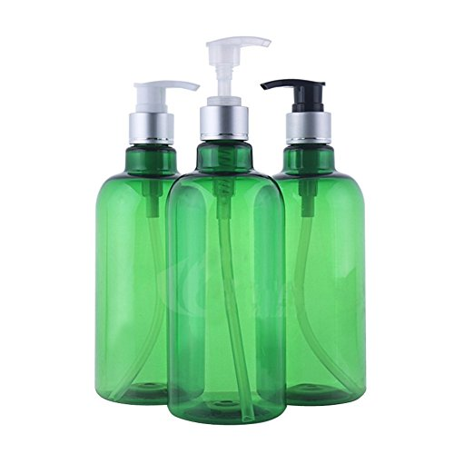 - 3PCS 500ml Green PET Plastic Empty Refillable Pump Bottles Jars With Pump Tops for Makeup Cosmetic Bath Shower Lotion Toiletries Liquid Containers Leak Proof Portable Travel Accessories
