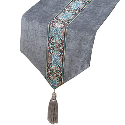 (WYQ Gray Table Runner, Corduroy Table Runners for Dining Table, TV Cabinet, Coffee Table, Shoe Cabinet, Porch (Available in 5 Sizes) (Color : Gray, Size : 33cm×230cm))