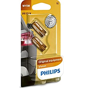 Philips 12396NAB2 Light Bulbs Glass Base WY5W Pack of 2 in Blister Pack