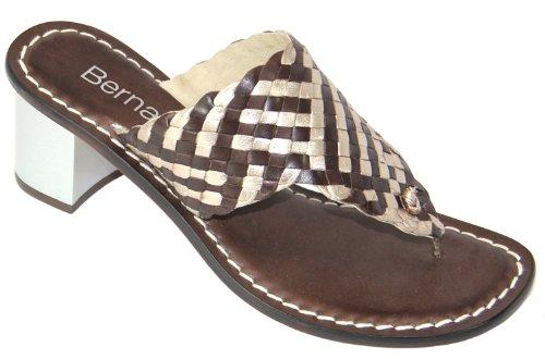 Bernardo Womens Jinx New Metallic Thong Sandal Chocolate/Mink A1x98ljV