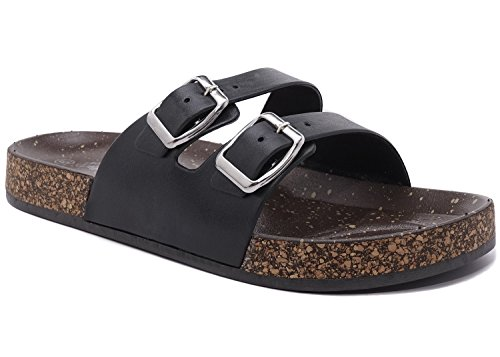 (Charles Albert Women's Double Strap Cork Sole Rubber Slide Sandal with Buckle (11, Black))