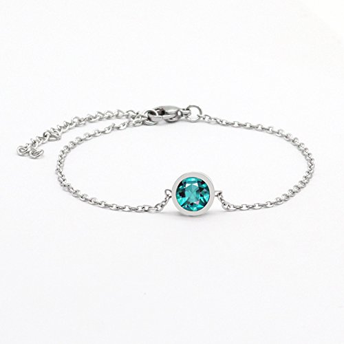 COOHAA Birthstones bracelet Shining Fashionable Simulated Stone Bezel Set Silver (Bezel Box Set)