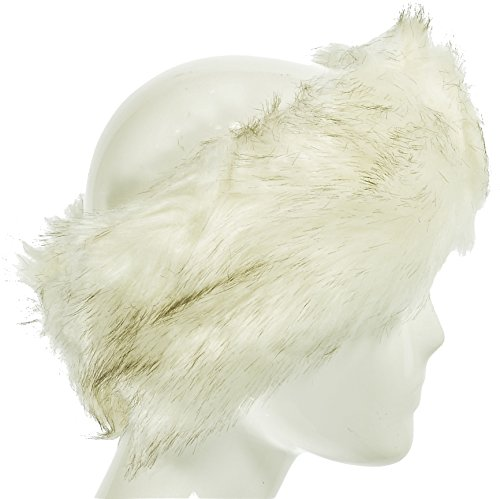 Hand By Hand Aprileo Women's Faux Fur Headband Scarf 2 in 1 Elastic Warmth [Ivory.](One Size)