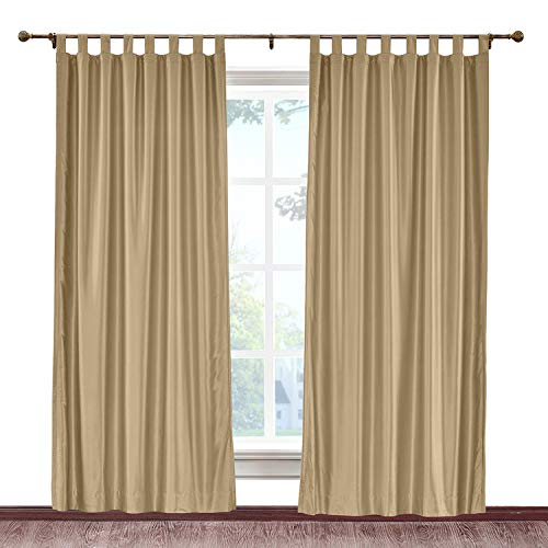 (cololeaf Tab Top Curtains Anti-bacteria Luxury Faux Dupioni Silk Window Drapery for Room Darkening Light Reducing Privacy Window Treatment, Taupe 120