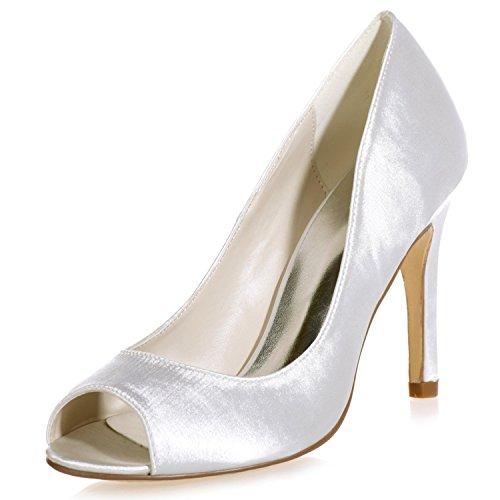 Scarpe Raso Toe Size in Toe Donna 9 Ivory Peep Kitten Sposa Evening Heel 35 da Elobaby 42 Prom da dAnZdY