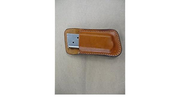 USGI 1911 45 Leather Clip On OWB Belt Magazine Mag pouch CCW TAN USA